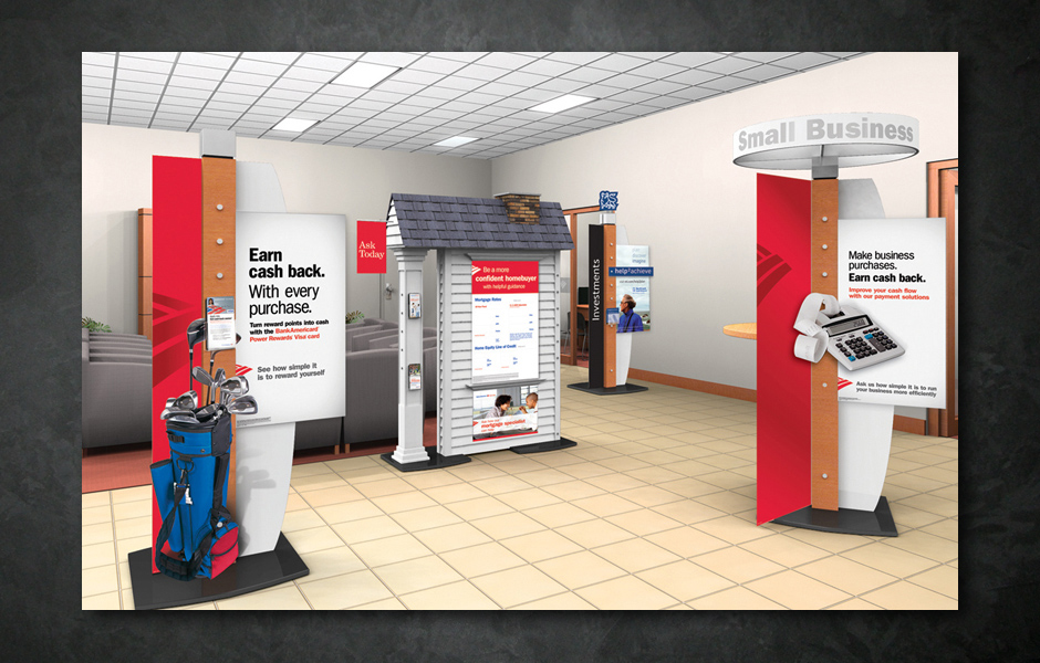 Bank of America- In Store promotional displays and signage.