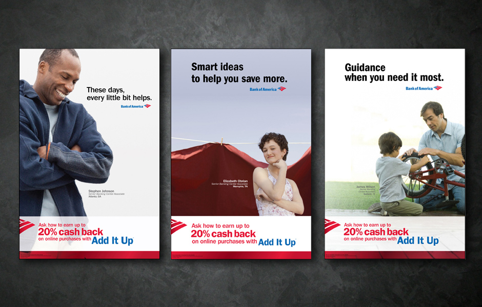 Bank of America - In Store promotional displays and signage.