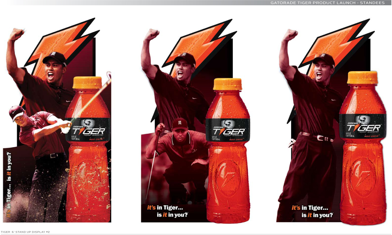 Gatorade - Tiger, New product roll out. Brand Identity, Glenn Clegg