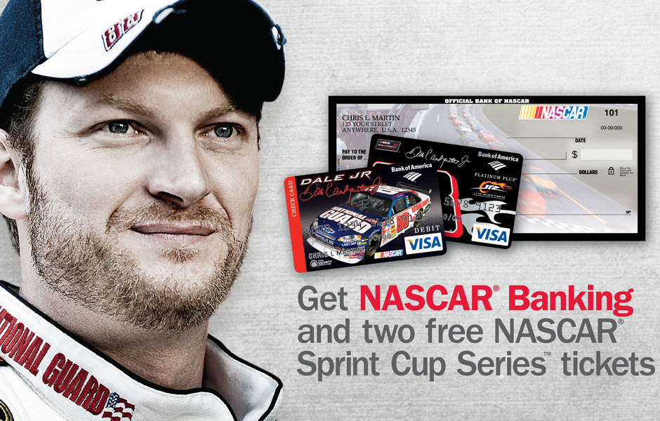 Bank of America Financial Services Marketing Nascar Checking and Credit Card Promotion
