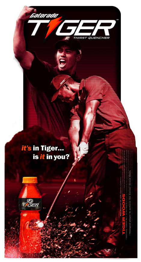 Gatorade Tiger product roll out. New Product launch merchandising displays, packaging, POP. Red Buffalo Design, Glenn Clegg - Designer/Creative Director, Brand Identity