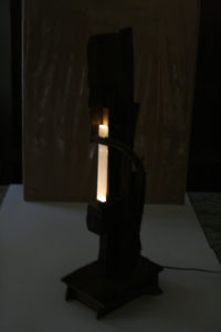 Sculpture Lamp LED lamp with Selenite Crystal - Glenn Clegg