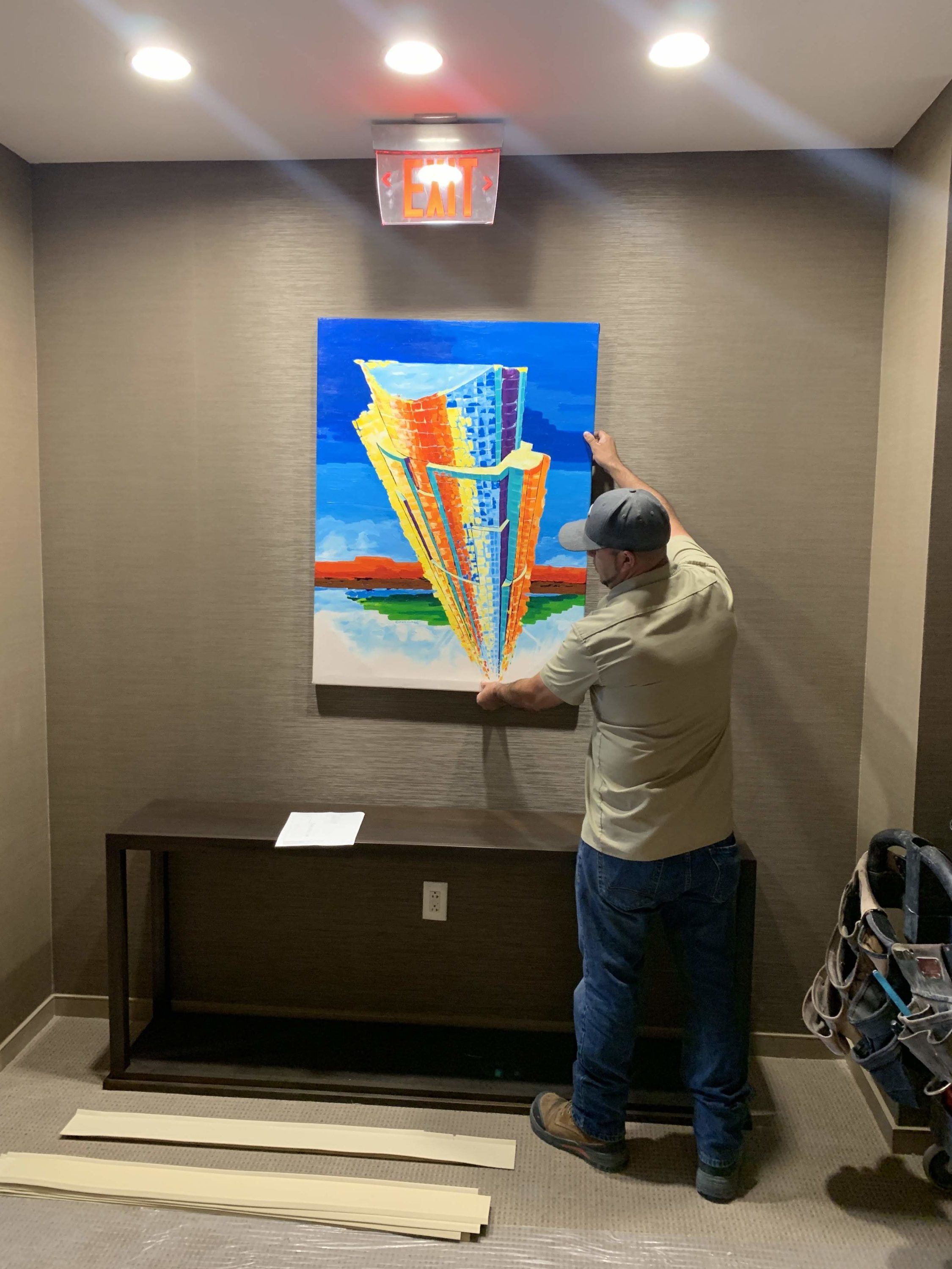 Painting #1 Installation. Austonian high rise in downtown Austin, Texas.