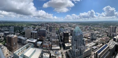 "Panoramic view of downtown Austin, Texas. From the 53 floor penthouse suite of the ""Austonian"" tower."