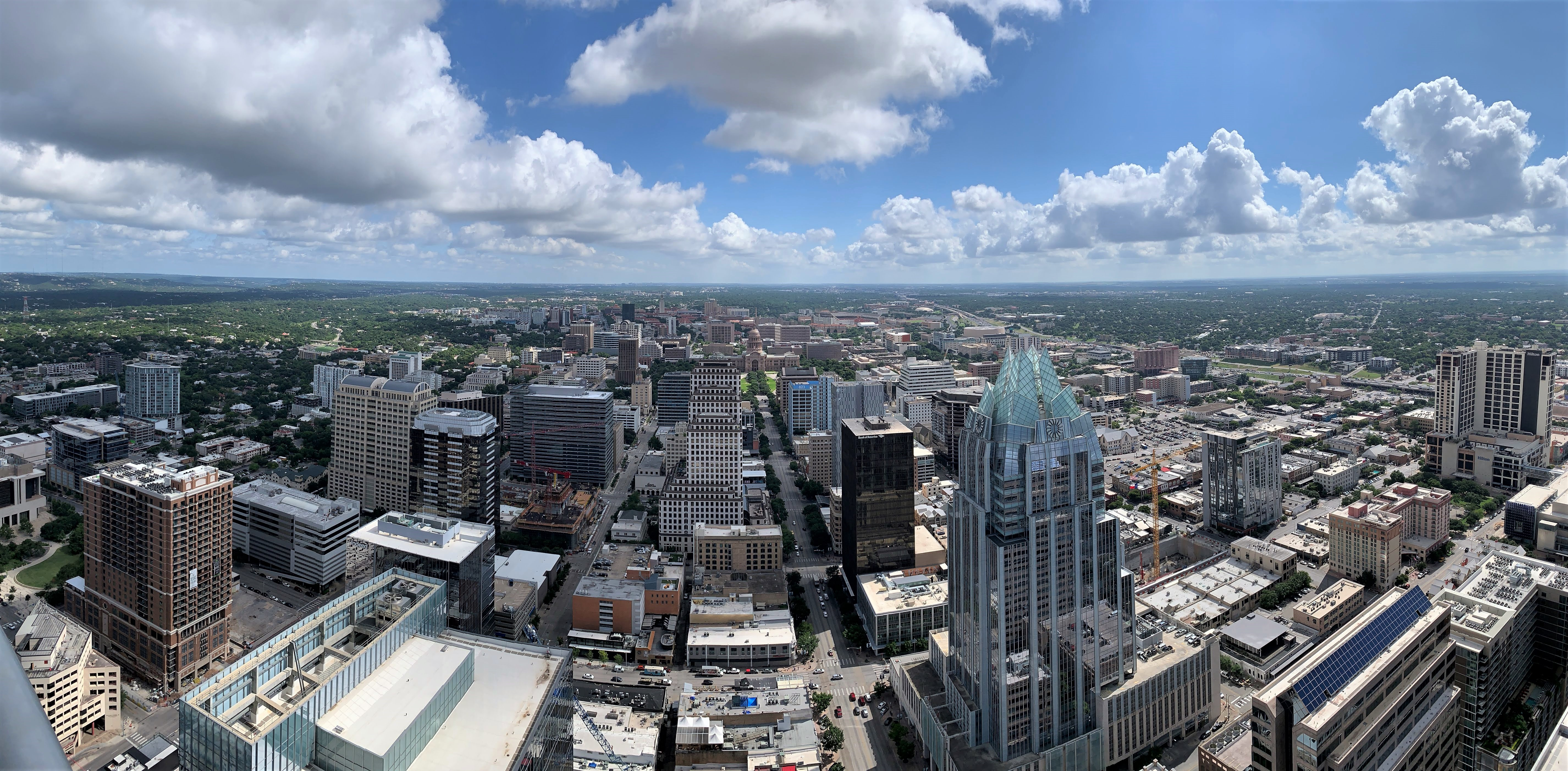 """Panoramic view of downtown Austin, Texas. From the 53 floor penthouse suite of the """"Austonian"""" tower."""